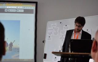 Nikolai Klose mit seinem Vortrag auf der eEvolution Konferenz 2015
