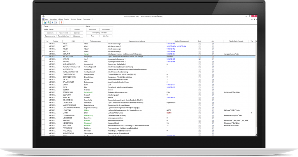 Ansicht des Imex Moduls zum Import und Export von Datenbanktabellen