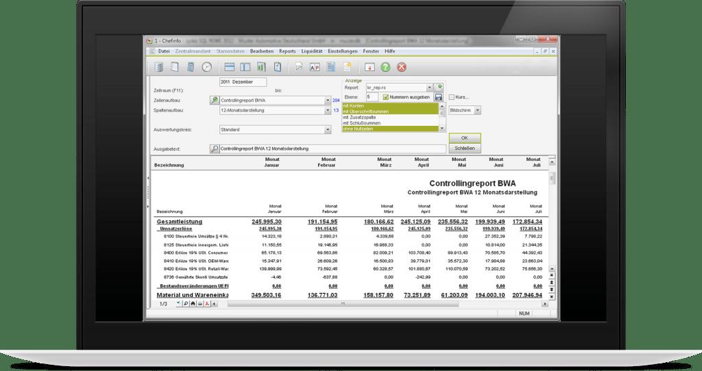 Erstellen Sie mit dem Chefinfo Modul individuelle betriebswirtschaftliche Auswertungen. Die Abbildung zeigt einen Controllingreport.