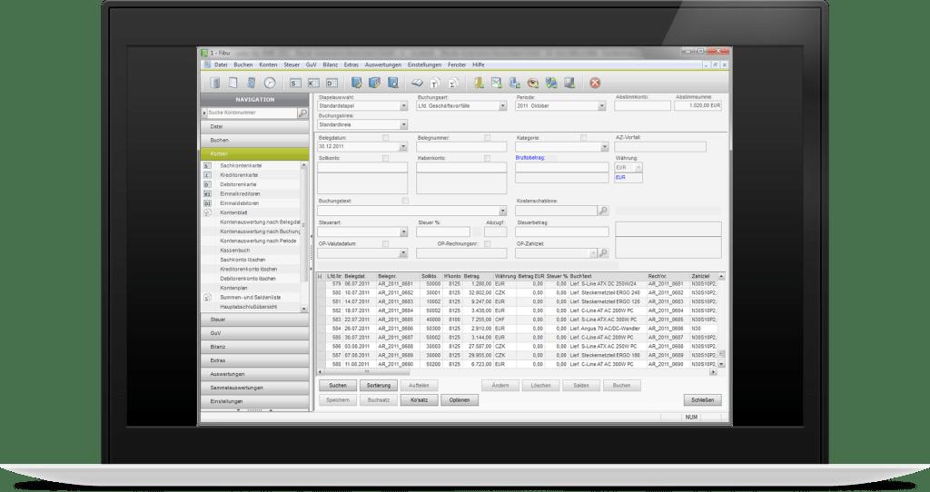 Der Screenshot zeigt die Möglichkeit Buchungen im Stapel zu verarbeiten.