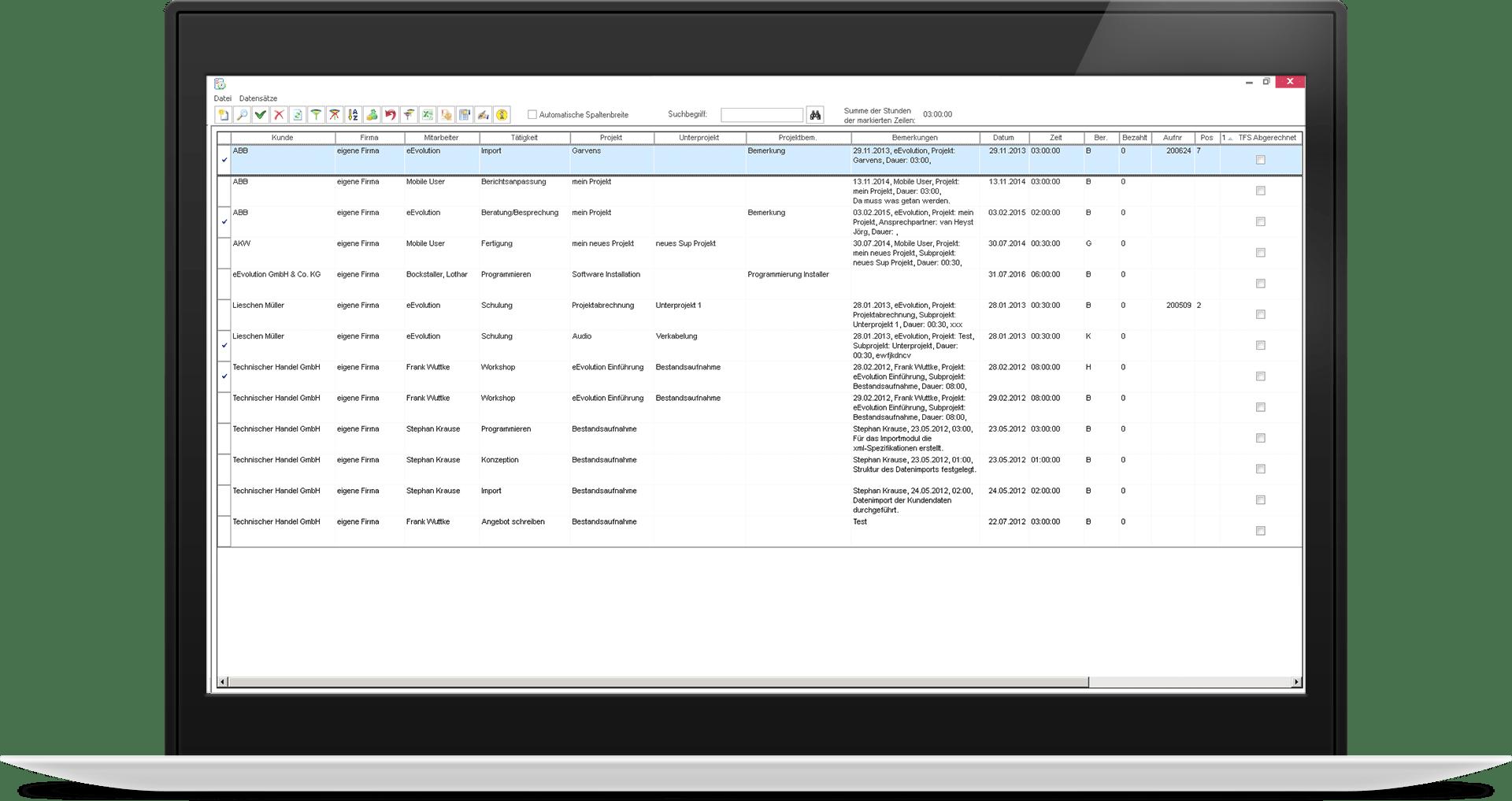 Ansicht aller eingetragenen Arbeitszeiten in der Projektabrechnung mit Details wie Projekt, Dauer, Bemerkungen.