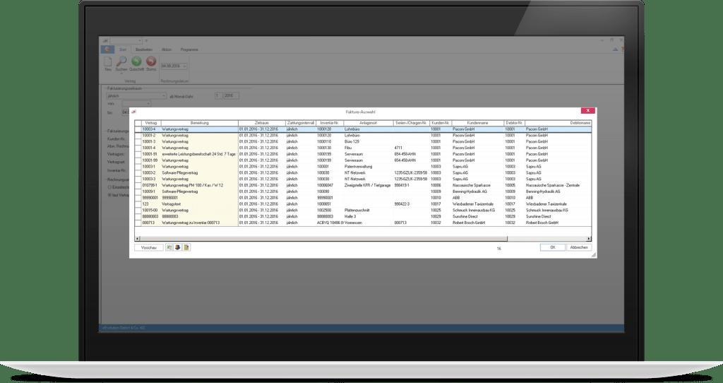 Anzeige aller angelegten Serviceverträge mit relevanten Daten wie Kunde, Vertragszeitraum